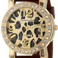 Cerentino Women's CR105-BRN  Brown Silicone Rubber Leopard Print Dial Watch