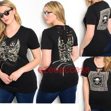 New Women'S PLuS SiZe ToP BLouSe T-SHiRT SUBLiMaTioN TaTToo cutout Lace 1X,2X,3X