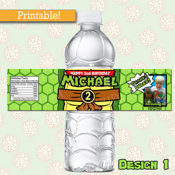 Personalized Ninja Turtles Birthday WATER BOTTLE labels | TMNT Birthday Party Printable Water Bottle wraps