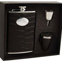 Visol Noir Black Crocodile Leather 8oz Deluxe Flask Gift Set 187