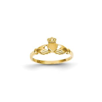 14k Yellow or White Gold Polished & Satin Claddagh Ring