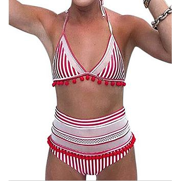Fashion Summer New Stripe Straps Two Piece Bikini Tassel Wading Sports Swimsuit Red