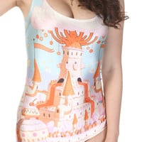 ROMWE Cartoon Castle Print Swimsuit
