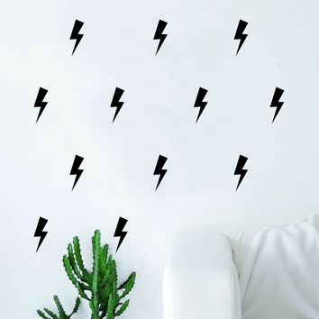 Set of 60 Lightning Bolts Pattern Decal Sticker Wall Vinyl Art Home Decor Cute Nursery Thunder Rain