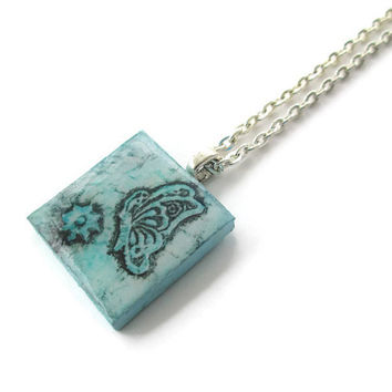 Blue Butterfly Pendant Necklace, wooden tile pendant