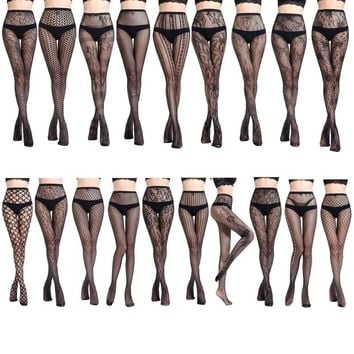 Sexy Womens Elastic Transparent Fish Net Toe Silk Stockings Control Top Panty Hose