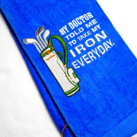 Golf Towel, Funny Golf Towel, Birthday Golf Gift, Embroidered Golf, Gift for Him, Groomsmen Gift, Custom Golf, Golfer Gift, Premium Towel