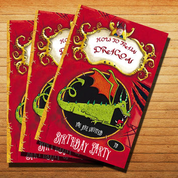 How To Train Your Dragon Toothless Back Invitation Cards 4x6, 5x7, Customized