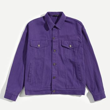 Men Pocket Patched Button Up Jacket