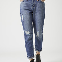 PETITE MOTO Ripped Mom Jeans - Topshop