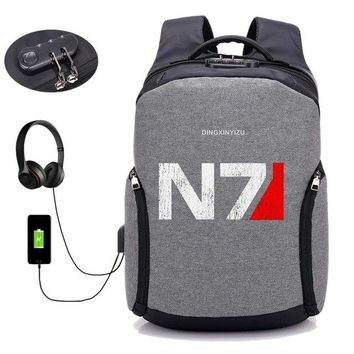 University College Backpack Game Mass Effect USB anti-theft travel laptop bag notebook computer shoulder bag  students package women men AT_63_4