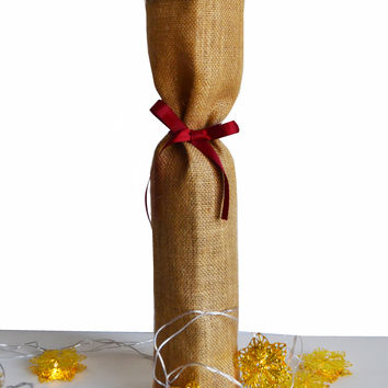 Wine Carrier Bag in Burlap with Grosgrain Ribbon Tie
