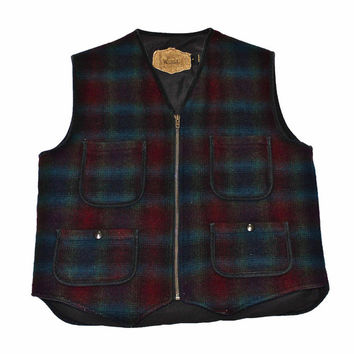 Vintage 90s Woolrich Plaid Vest Made in USA Mens Size Small