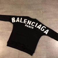 Balenciaga Fashion Print Round Neck Pullover Top Sweater