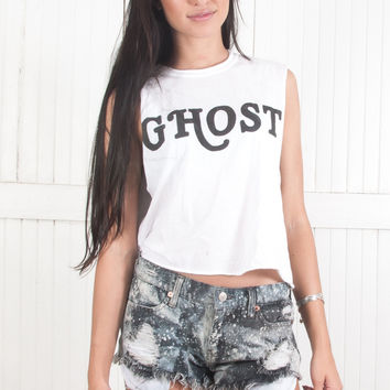 Ghost Crop Muscle Tee Thrashed