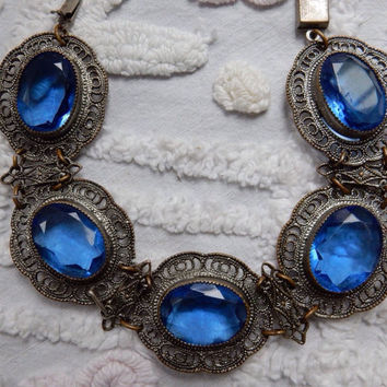 Gorgeous Art Nouveau Filigree and Blue Czech Glass Bracelet