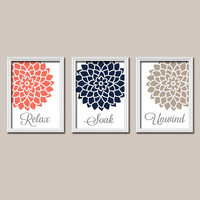 Coral Navy Bathroom Wall Art Canvas Artwork Relax Soak Unwind Quote Flower Dahlia Flower Set of 3 Prints Decor Shower Curtain Match Three