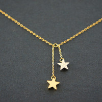 Gold and silver small star dangling necklace, gift, lucky, valentine's day, birthday