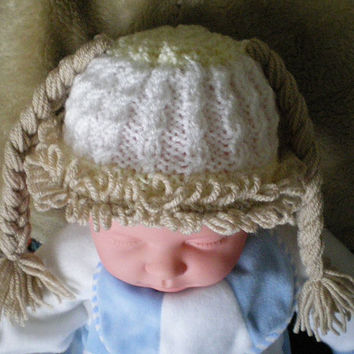 Cabbage Patch Hat,Photo Prop,Baby hat,Baby Cap,Pigtails,