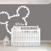 Wall Decal Vinyl Sticker Decals Art Decor Design Personalized Name Cartoon Mickey Mouse Letters Sign Gift Kids Children Nursery (r240)