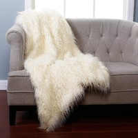 Best Home Fashion Ivory Mongolian Lamb Faux Fur Throw Blanket - 58