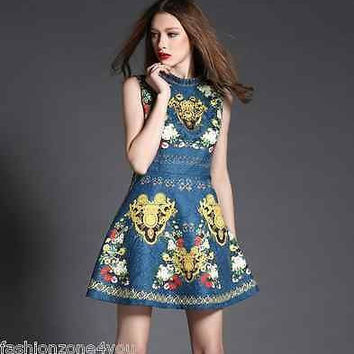 Runway Luxury Sleeveless dress key flower print beading cocktail party S M L