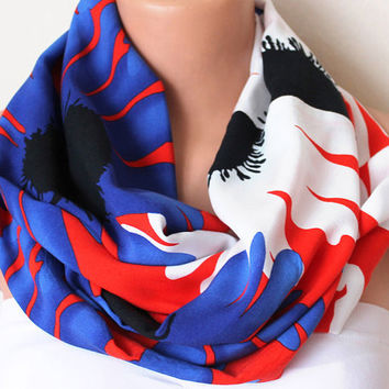 Infinity Scarf Loop Scarf Circle Scarf Cowl Scarf Soft and Lightweight Sunflowers Royal Blue Red White Coton
