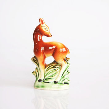 Miniature mid century deer figurine, cute animal figurine, modern contemporary mid century home decor, small ceramic deer statue, fawn decor