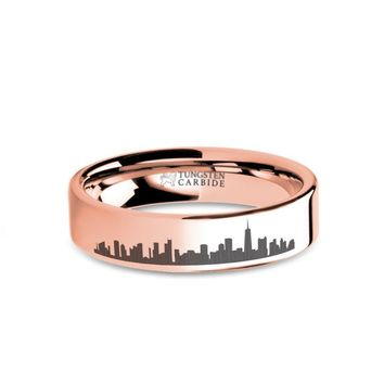 Chicago City Skyline Cityscape Engraved Rose Gold Tungsten Ring