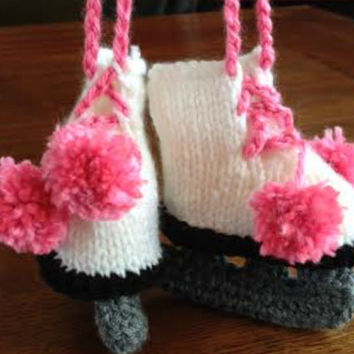 Figure Skate Baby Booties - Bright White