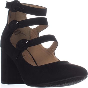 ESPRIT Lucy Buckle Ankle Strap Pumps, Black, 6 US