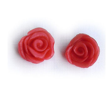 Valentine's Day red rose studs earrings hypoallergenic for sensitive ears handmade in cold porcelain