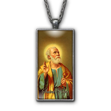 Saint Peter Painting Religious Pendant Necklace Jewelry