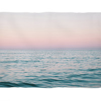 Pastel Sea - Fleece Blanket, Beach Surf Decor Accent Throw Cover, Pink and Blue Ocean Nautical Boho Style Coral Fleece. Small Medium Large