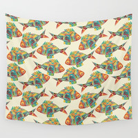 Abstract Geometric Fish Pattern Wall Tapestry by Smyrna
