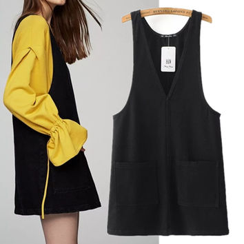Freeshipping summer dress vestidos 2017 The European and American wind leisure pure color women's jeans pocket vest dress