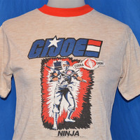 80s GI Joe Storm Shadow Cobra Ninja Heathered Beige Red t-shirt Youth Medium