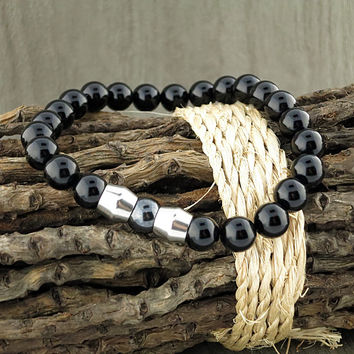 """Black Agate With Stainless Steel And Magnetic Hematite  """"Bead"""" Stretch Bracelet"""