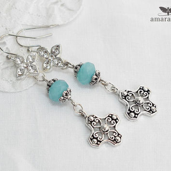 Rhinestone & Aquamarine Silver Cross Earrings, Gothic Crosses Dangle Earrings, Religious Earrings