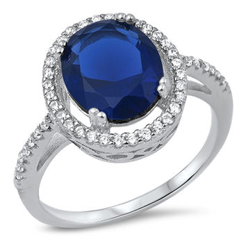 Sterling Silver CZ Simulated Sapphire and Simulated Diamond Halo Ring 15MM