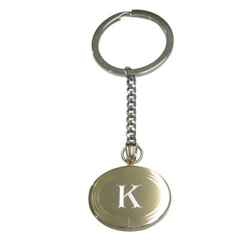 Gold Toned Etched Oval Letter K Monogram Pendant Keychain