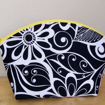 New**Curved Top Whimsical Floral Black Print Bag Set Waterproof Lining Zip Cosmetic Make Up Bag/Pouch/Accessory/Gadget Case/Pencil/Gift Idea