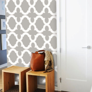 Moroccan Trellis Pattern WallPaper - Warm Grey & White