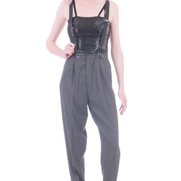 90s Vintage High Waist Trousers Suspenders Gray Black Striped Baggy Tapered Pants Hipster New Wave Goth Clothing Womens Size XS Small