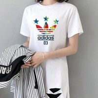 """Adidas"" Woman Casual  Wild Fashion Letter Printing Loose  Large Size Hole Short  Sleeve  T-Shirt Tops"