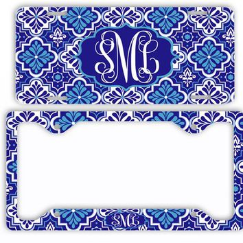 Blue Moroccan Pattern License Plate Car Tag Monogram Frame Personalized Set Custom Initials Car Coasters Quatrefoil