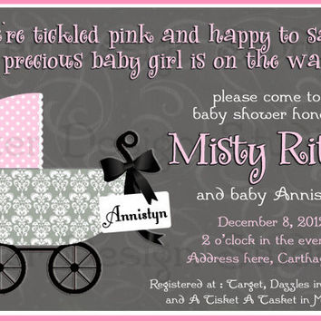 Grey Pink Chic Carriage Baby Shower Invitation - Printable