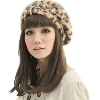 DCK4S2 Leopard Print Soft Knit Beret Warm Fashion Painter Hat Cap