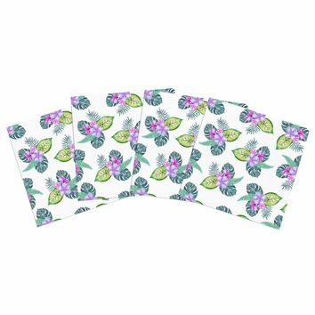 "Sylvia Cook ""Tropical Flowers"" Green Pink Floral Nature Watercolor Digital Indoor/Outdoor Place Mat (Set of 4)"