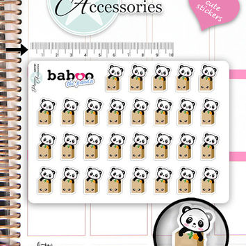 Kawaii  Shopping Stickers Cute Baboo Panda Stickers Purchase Stickers Planner Stickers Functional Stickers Decorative Stickers NR791
